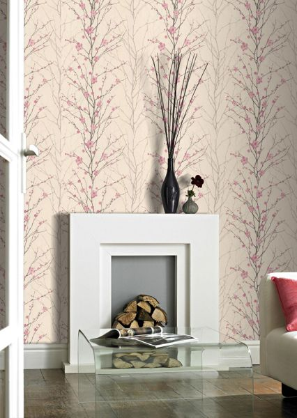 Graham & Brown Floralpink/cream floral vitality wallpaper