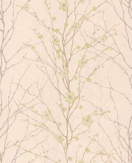 Graham & Brown Green/cream floral vitality wallpaper
