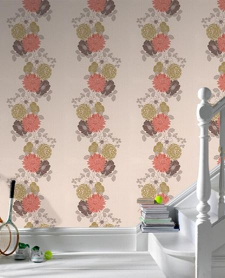 Graham & Brown Coral flower trailing mix wallpaper