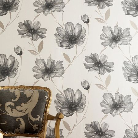 Graham & Brown Cream charcoal spirit wallpaper