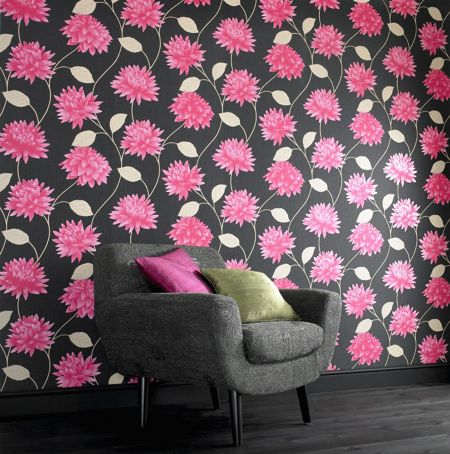 Graham & Brown Black/pink romance wallpaper