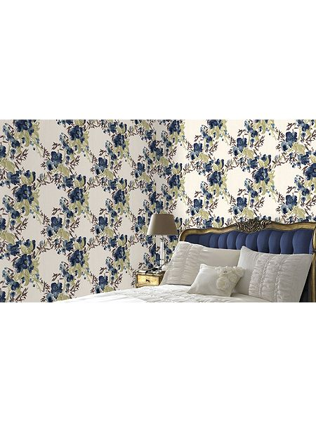 Graham brown blue teal monsoon meadow wallpaper house for Monsoon home wallpaper uk