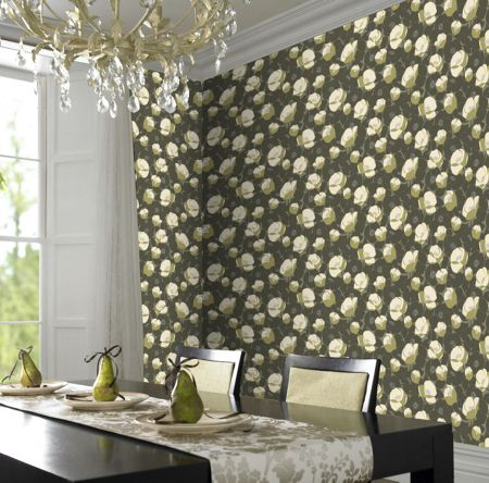 Graham & Brown Green field poppies moss wallpaper