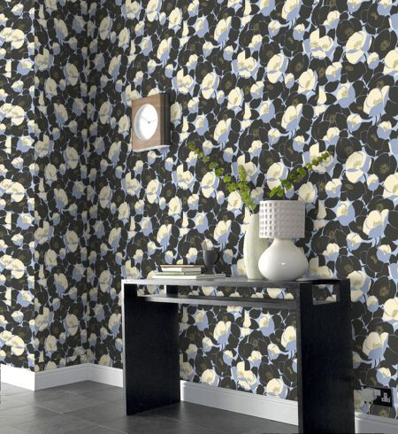 Graham & Brown Navy blue field poppies stone wallpaper
