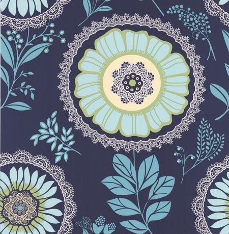 Graham & Brown Blue lacework midnight wallpaper