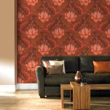 Graham & Brown Terracotta temple tulips sunset wallpaper