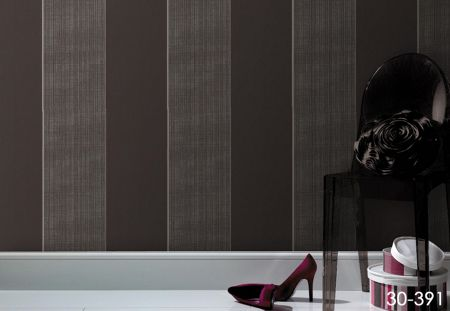 Graham & Brown Chocolate/gold bold stripe wallpaper
