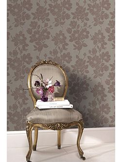 Gold/taupe rose wallpaper