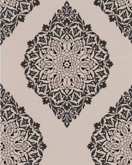 Graham & Brown Black orchid/charcoal tattoo wallpaper