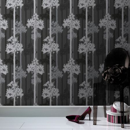 Graham & Brown Black/silver nottingham wallpaper