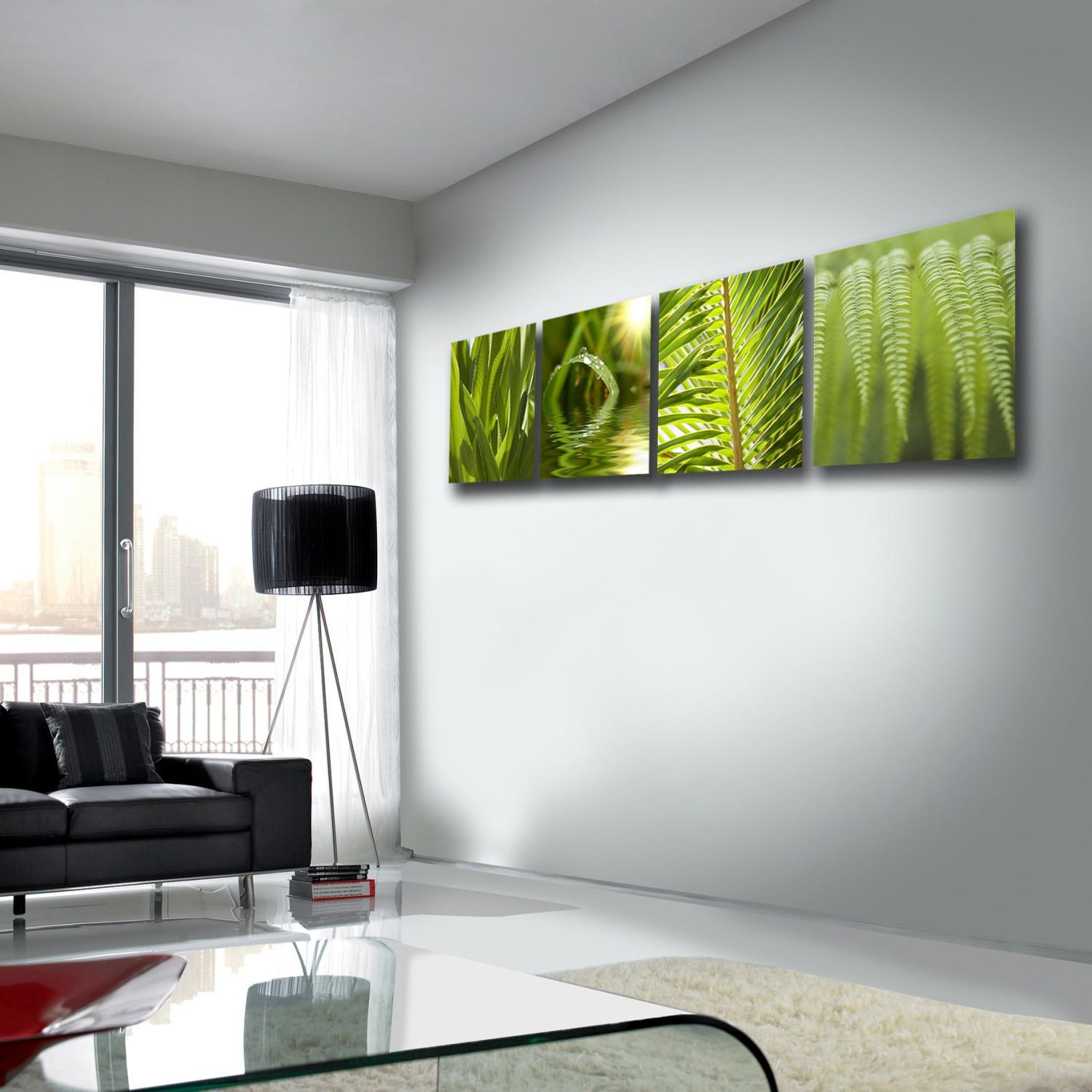 Green leaf quad wall art