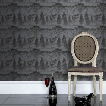 Graham & Brown Black charcoal mirage wallpaper