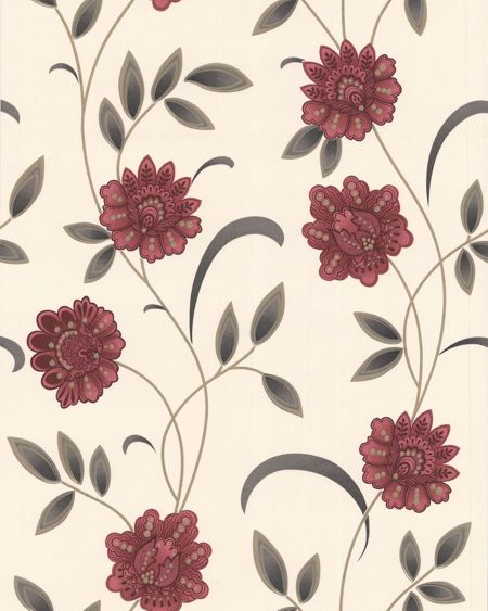 Graham & Brown Red/cream sadie wallpaper