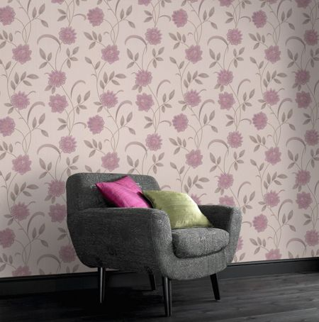 Graham & Brown Pink lavender/cream sadie wallpaper