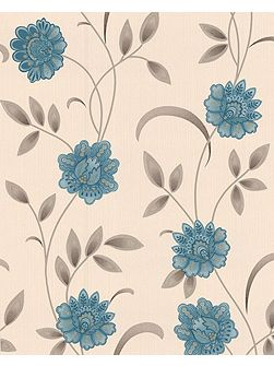 Blue teal/cream sadie wallpaper