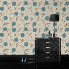 Graham & Brown Blue teal/cream sadie wallpaper