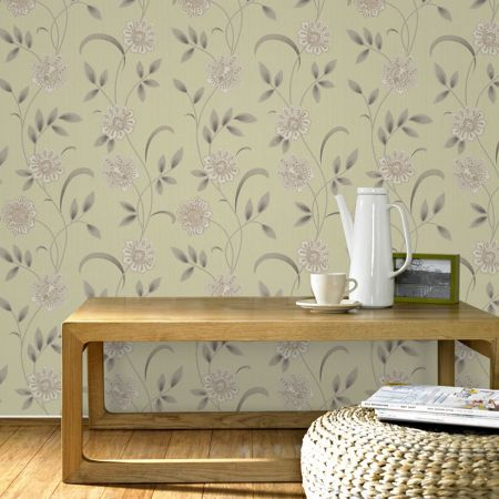 Graham & Brown Green/cream spring wallpaper