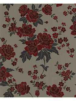 Red/taupe kensington wallpaper