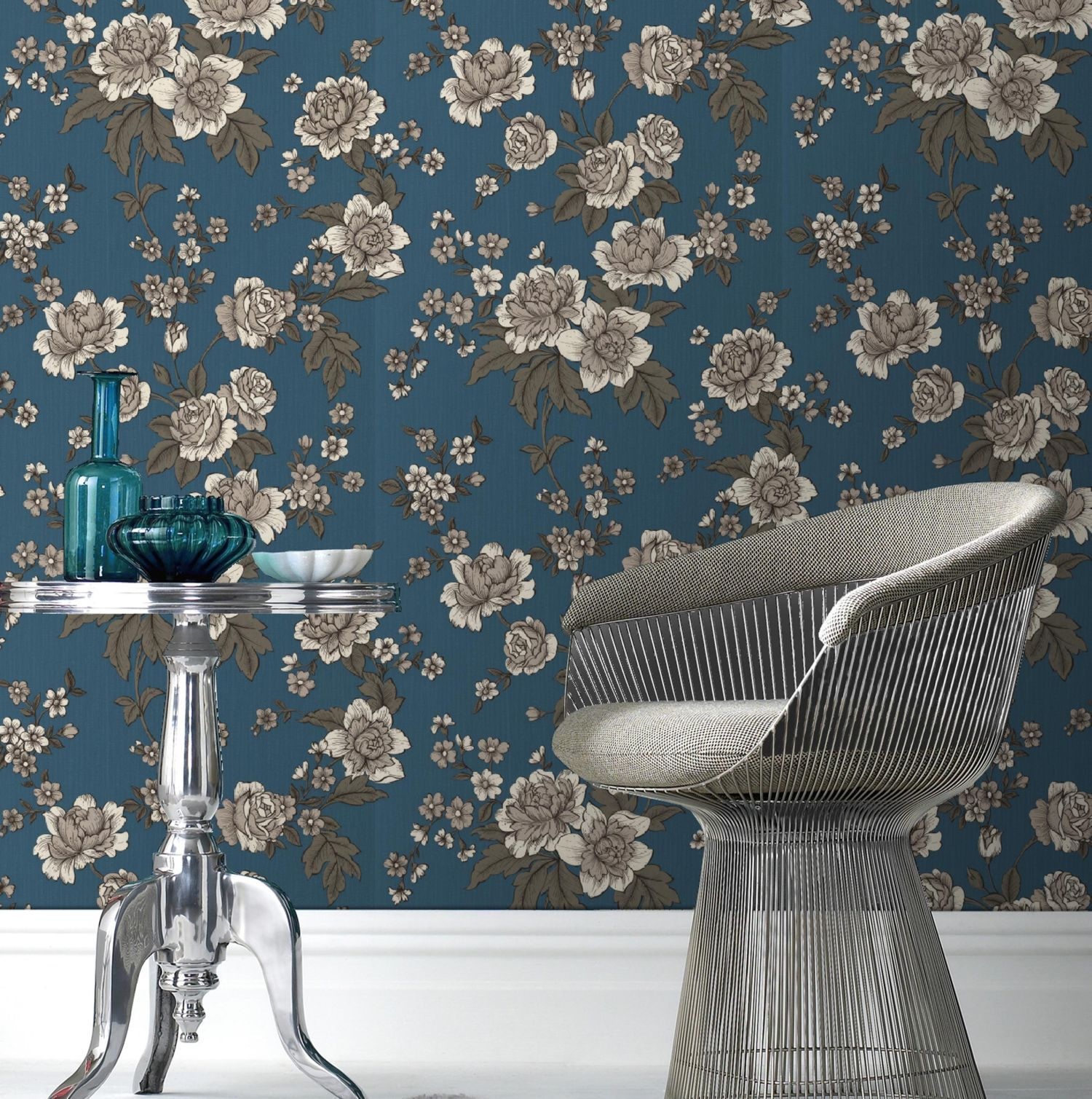 Teal kensington wallpaper