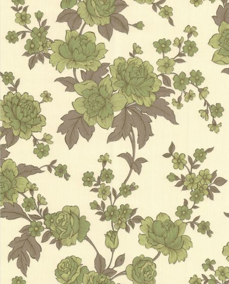 Graham & Brown Green/cream kensington wallpaper