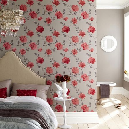 Graham & Brown Coral/grey amelia wallpaper