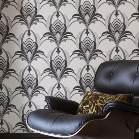 Graham & Brown Black/white glamour wallpaper