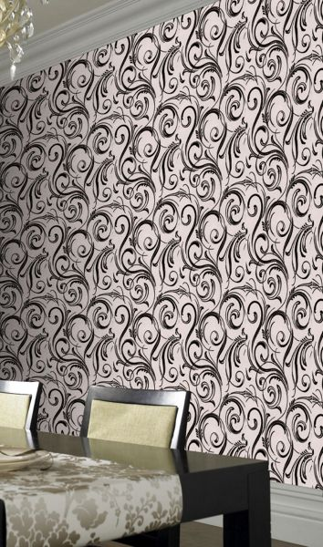 Graham & Brown Black swirly wurly domino trix wallpaper