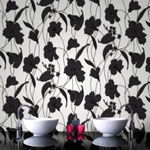 Graham & Brown Black Marylou Floral Kitchen & Bathroom Wallpaper