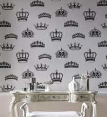 Graham & Brown Black/white crowns & coronets wallpaper