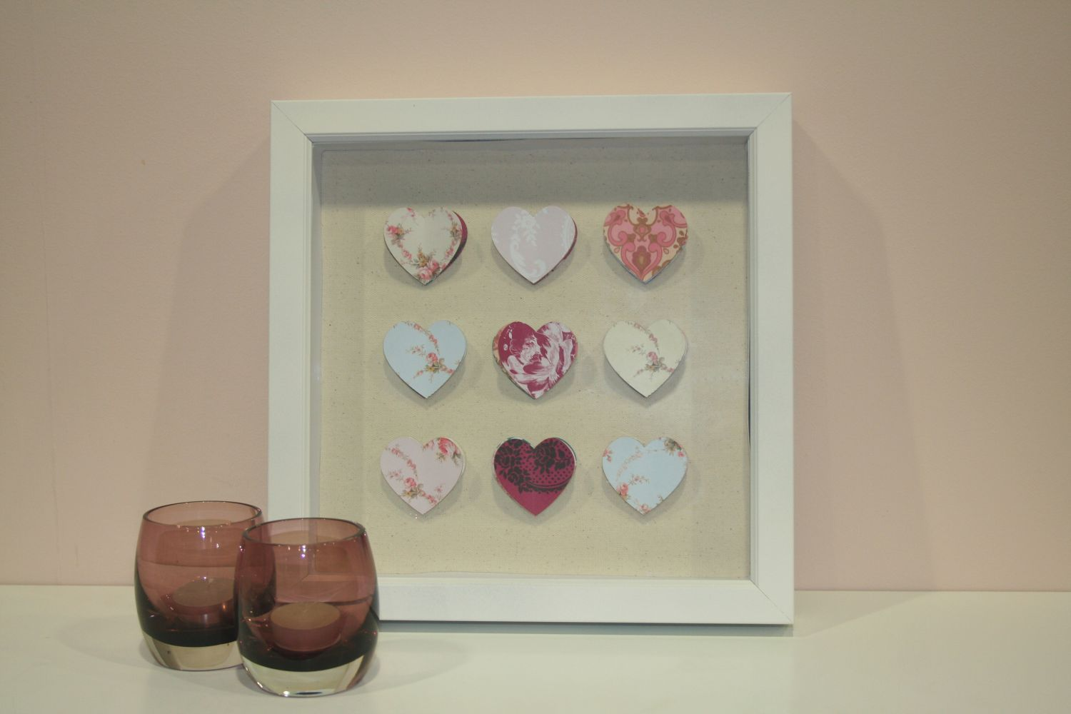 Hearts corsage wall art