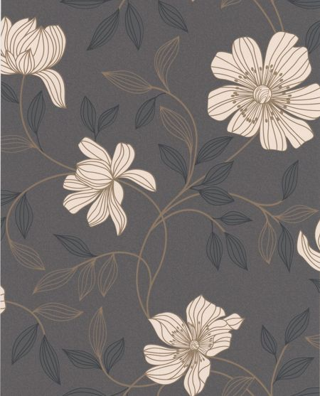 Graham & Brown Charcoal camille wallpaper