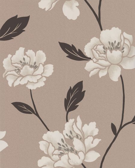 Graham & Brown Beige taupe peony wallpaper