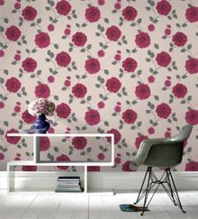 Graham & Brown Red Floral Charlotte Wallpaper
