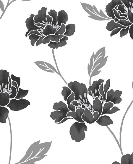 Graham & Brown Black/White peony wallpaper