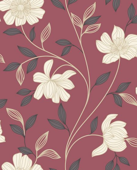Graham & Brown Red/cream camille wallpaper