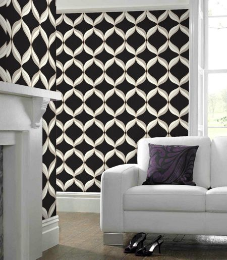 Graham & Brown Cream Charcoal mika wallpaper