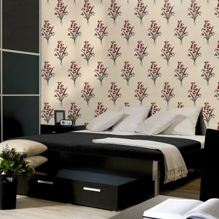 Graham & Brown Red & Cream Floral Valley Wallpaper