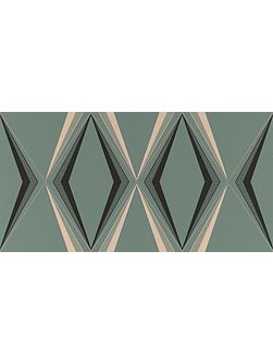 Green enamel vintage deco diamond wallpaper