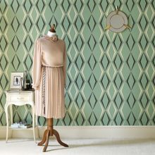 Graham & Brown Green enamel vintage deco diamond wallpaper