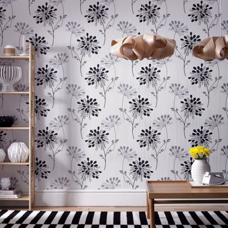 Graham & Brown Black/mica burst wallpaper
