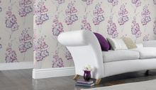 Graham & Brown Blue cream/pink iris wallpaper