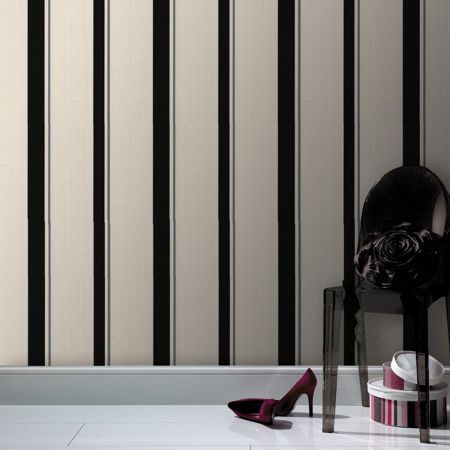 Graham & Brown Black/Mica barley stripe wallpaper