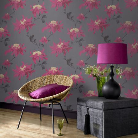 Graham & Brown Pink /grey/fusc fabulous wallpaper