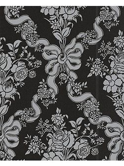 Black damask glimmerous wallpaper