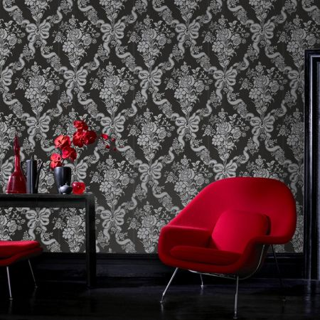 Graham & Brown Black damask glimmerous wallpaper