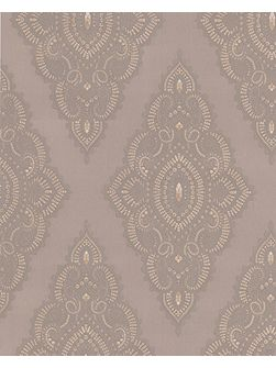 Mocha taupe/gold jewel wallpaper