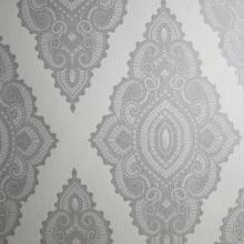Graham & Brown White pearl/silver jewel wallpaper