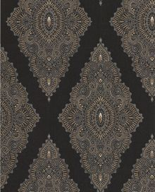 Graham & Brown Black/gold jewel wallpaper