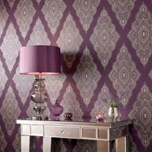 Graham & Brown Purple damson/gold jewel wallpaper