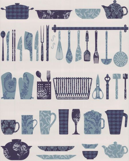 Graham & Brown Blue crockery making a wallpaper
